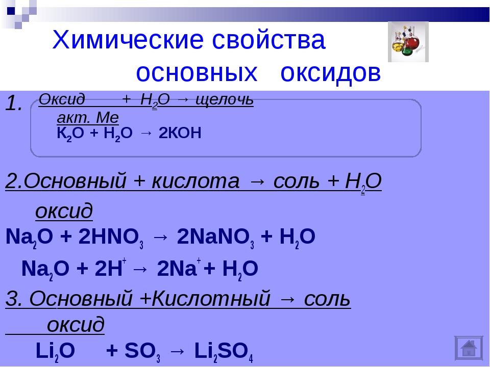 Химические свойства основных оксидов 1. 2.Оcновный + кислота → соль + Н2О ок...