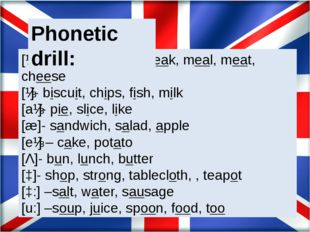 [ɪ:]- sweet, tea, tea-break, meal, meat, cheese [ɪ]- biscuit, chips, fish, m