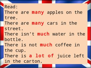Read: There are many apples on the tree. There are many cars in the street.