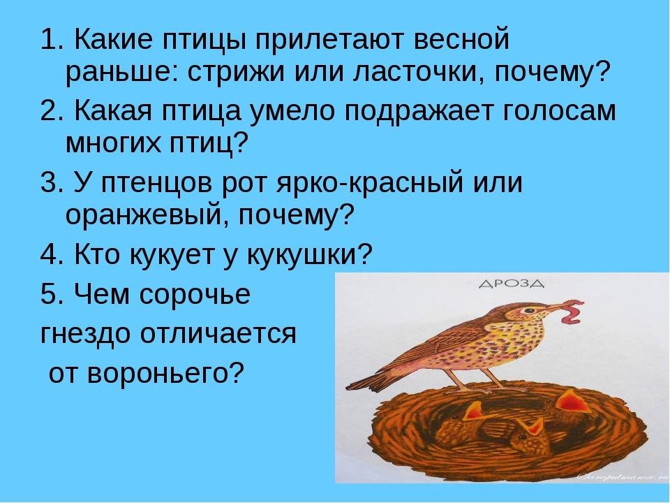 1. Какие птицы прилетают весной раньше: стрижи или ласточки, почему? 2. Какая...