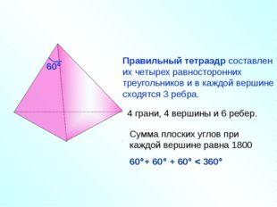 4 грани, 4 вершины и 6 ребер. Сумма плоских углов при каждой вершине равна 18