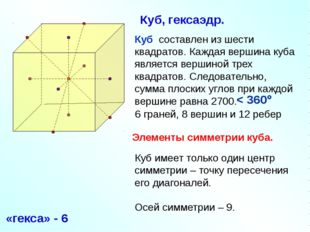 Куб составлен из шести квадратов. Каждая вершина куба является вершиной трех