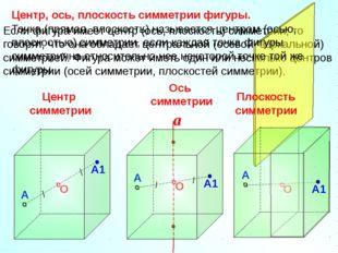 Если фигура имеет центр (ось, плоскость) симметрии, то говорят, что она облад
