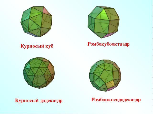 Курносый куб Курносый додекаэдр Ромбоикосододекаэдр Ромбокубооктаэдр