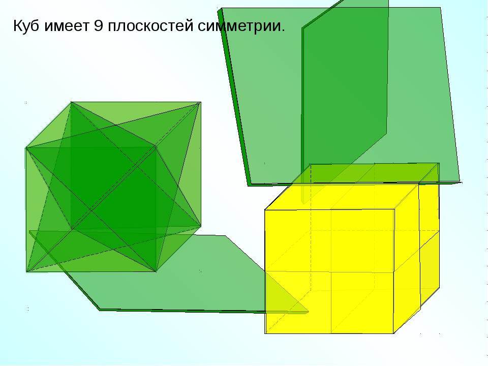 Куб имеет 9 плоскостей симметрии. «Геометрия 10-11» Л.С. Атанасян и др.