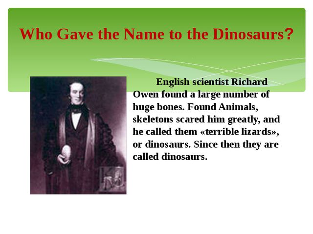 English scientist Richard Owen found a large number of huge bones. Found Ani...