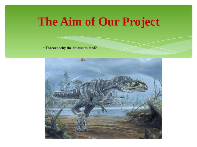To learn why the dinosaurs died? The Aim of Our Project