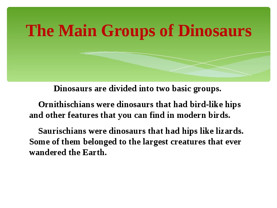 Dinosaurs are divided into two basic groups. Ornithischians were dinosaurs t...