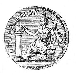 Монета с изображением Пифагора
