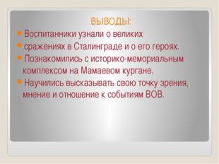 ВЫВОДЫ: Воспитанники узнали о великих сражениях в Сталинграде и о его героях.
