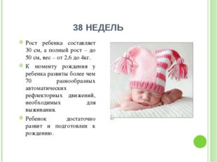 38 НЕДЕЛЬ Рост ребенка составляет 30 см, а полный рост – до 50 см, вес – от 2