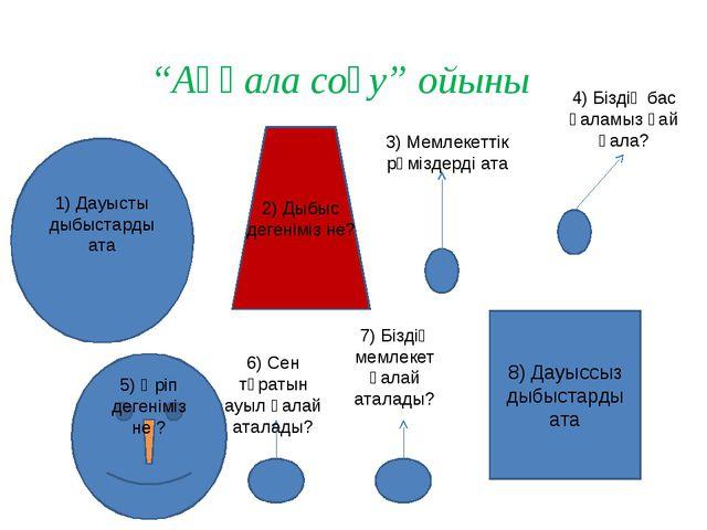"""8) Дауыссыз дыбыстарды ата 2) Дыбыс дегеніміз не? """"Аққала соғу"""" ойыны 1) Дауы..."""