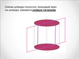 Сечение цилиндра плоскостью, проходящей через ось цилиндра, называется осевым