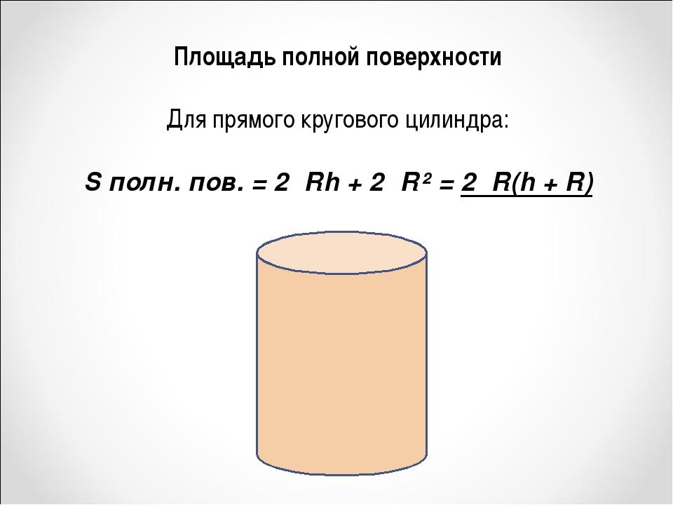Площадь полной поверхности Для прямого кругового цилиндра: S полн. пов. = 2πR...