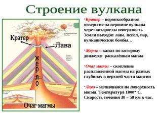 Кратер – воронкообразное отверстие на вершине вулкана через которое на поверх