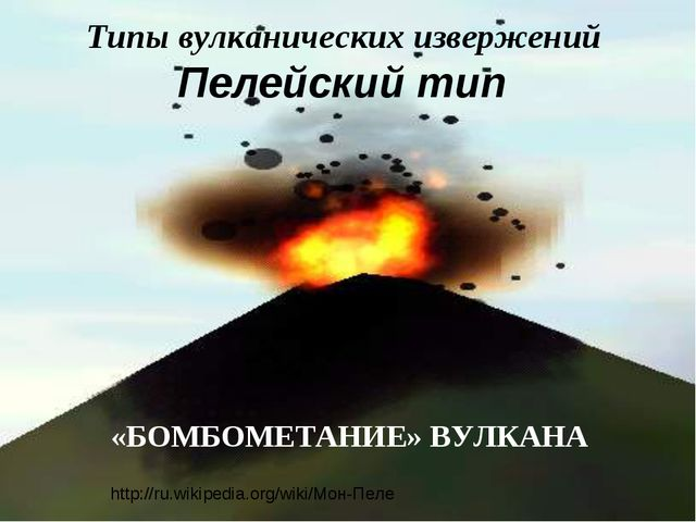 Типы вулканических извержений Пелейский тип «БОМБОМЕТАНИЕ» ВУЛКАНА http://ru....