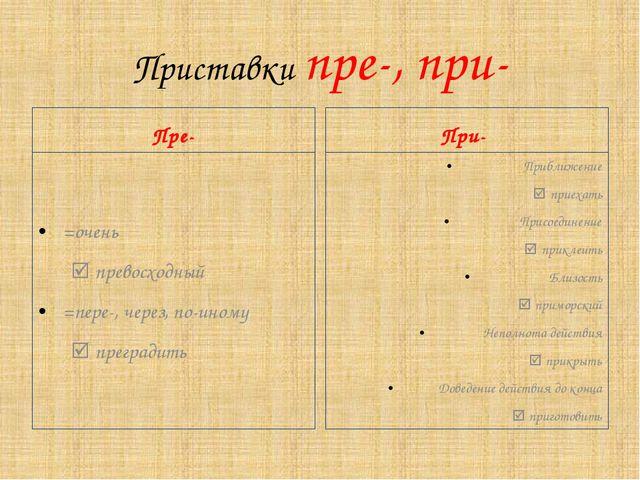 Приставки пре-, при- Пре- =очень  превосходный =пере-, через, по-иному  п...