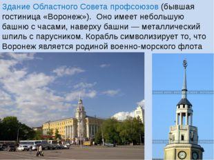 Здание Областного Совета профсоюзов (бывшая гостиница «Воронеж»). Оно имеет н