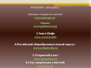 Интернет- рессурсы 1.Интернет-государство учителей www.intergu.ru 2.Педсовет
