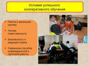 Условия успешного кооперативного обучения Работа в маленьких группах Личная о