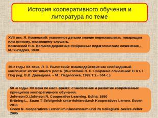 История кооперативного обучения и литература по теме XVII век. Я. Коменский: