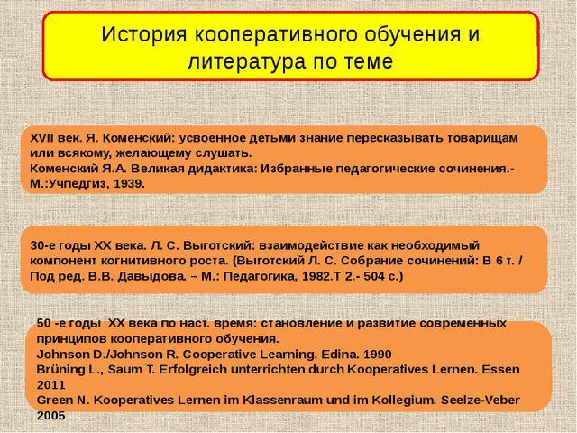 История кооперативного обучения и литература по теме XVII век. Я. Коменский:...