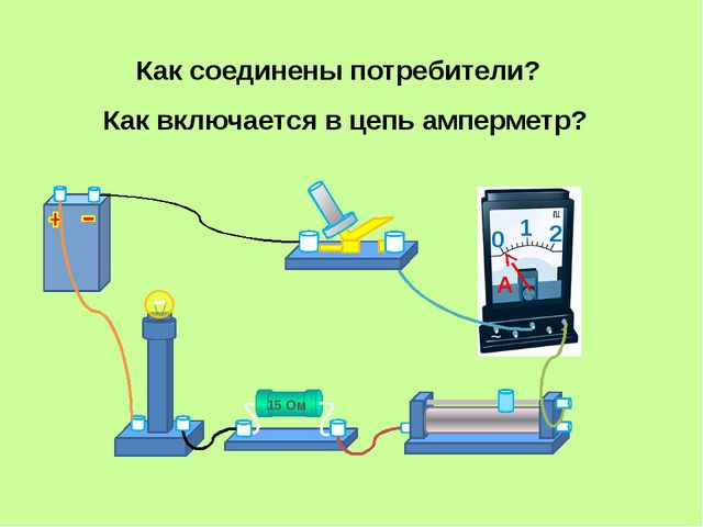 Как соединены потребители? Как включается в цепь амперметр? 15 Ом 0 1 2 A