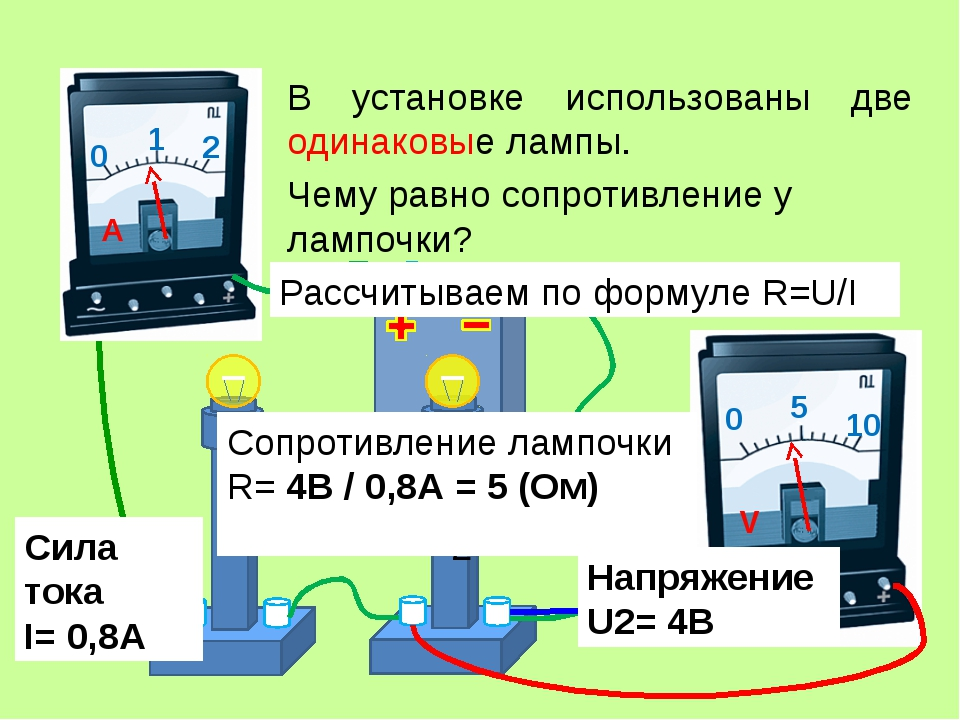 В установке использованы две одинаковые лампы. Сила тока I= 0,8А Чему равно с...