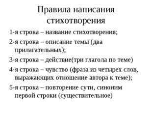 Правила написания стихотворения 1-я строка – название стихотворения; 2-я стро