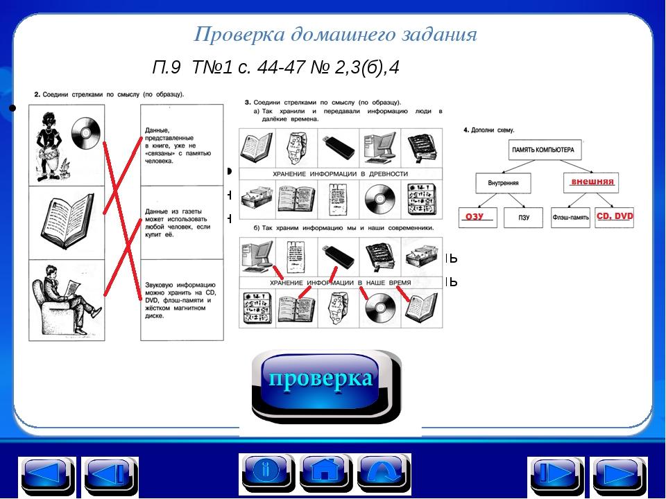 Проверка домашнего задания П.9 Т№1 с. 44-47 № 2,3(б),4