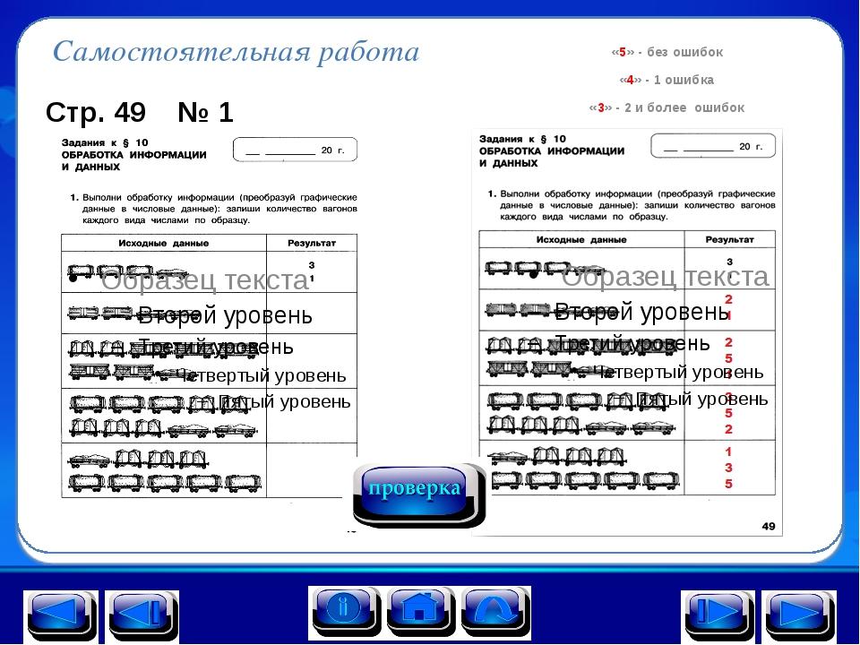 Самостоятельная работа Стр. 49 № 1 «5» - без ошибок «4» - 1 ошибка «3» - 2 и...