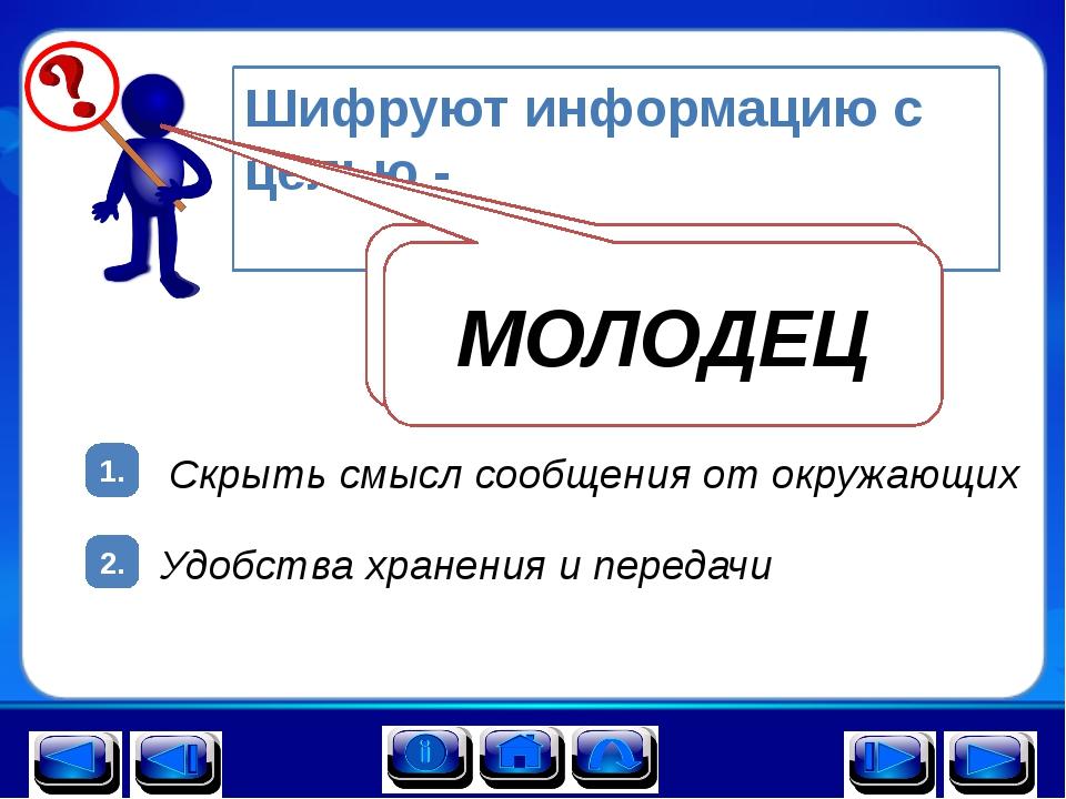 2. 1. Шифруют информацию с целью - Удобства хранения и передачи Скрыть смысл...