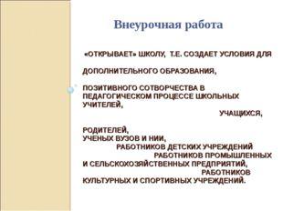 «ОТКРЫВАЕТ» ШКОЛУ, Т.Е. СОЗДАЕТ УСЛОВИЯ ДЛЯ ДОПОЛНИТЕЛЬНОГО ОБРАЗОВАНИЯ, ПОЗ