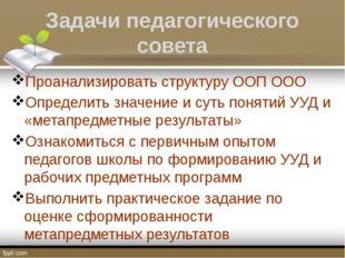 Задачи педагогического совета Проанализировать структуру ООП ООО Определить з