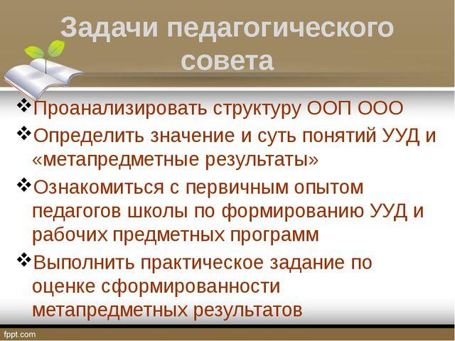 Задачи педагогического совета Проанализировать структуру ООП ООО Определить з...