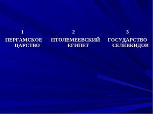 1 ПЕРГАМСКОЕ ЦАРСТВО2 ПТОЛЕМЕЕВСКИЙ ЕГИПЕТ3 ГОСУДАРСТВО СЕЛЕВКИДОВ