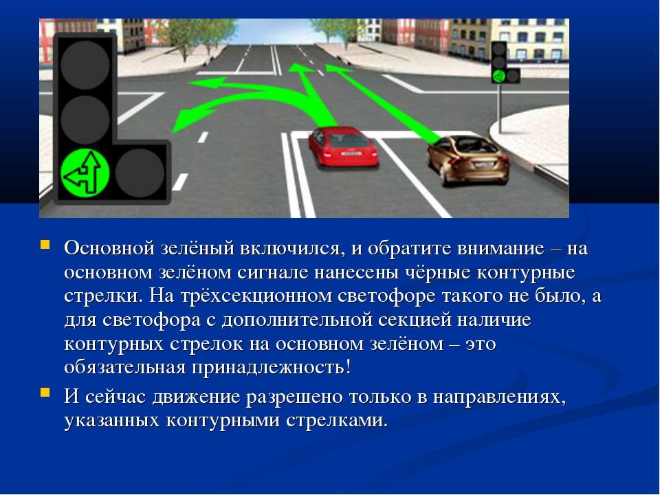 Основной зелёный включился, и обратите внимание – на основном зелёном сигнале...