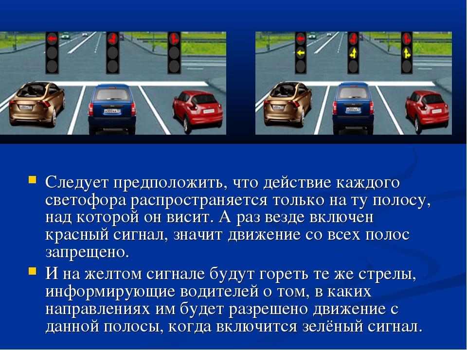 Следует предположить, что действие каждого светофора распространяется только...