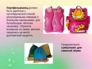 Портфель/ранец должен быть удобным с ортопедической спиной, регулируемыми лям