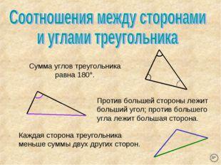 Сумма углов треугольника равна 180°. Против большей стороны лежит больший уго