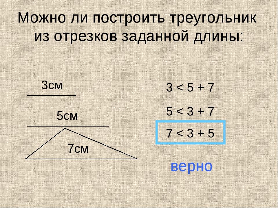 Можно ли построить треугольник из отрезков заданной длины: 3см 5см 7см 3 < 5...