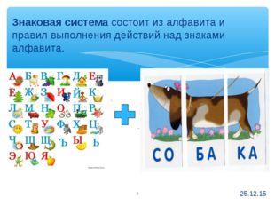 Знаковая система состоит из алфавита и правил выполнения действий над знаками