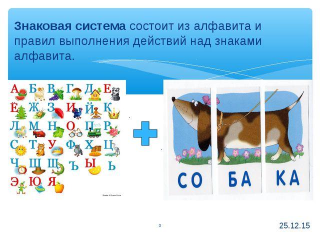 Знаковая система состоит из алфавита и правил выполнения действий над знаками...