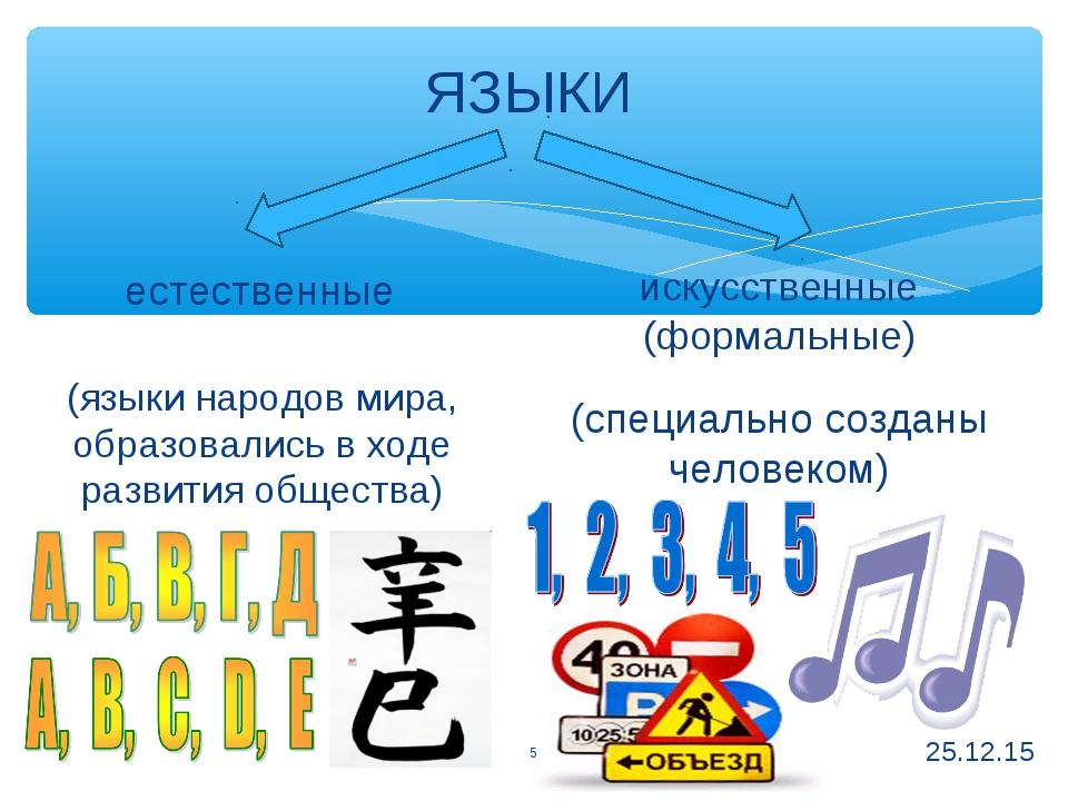 ЯЗЫКИ * * естественные искусственные (формальные) (языки народов мира, образо...