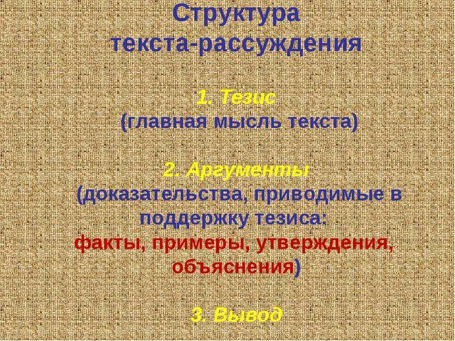 Структура текста-рассуждения 1. Тезис (главная мысль текста) 2. Аргументы (д...