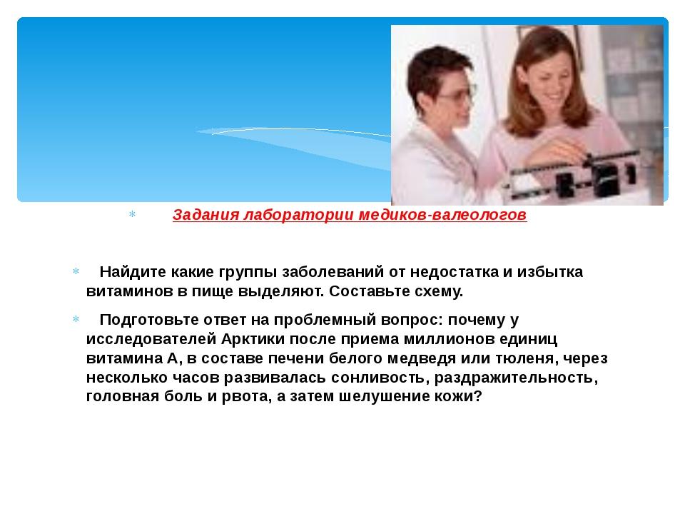 Задания лаборатории медиков-валеологов Найдите какие группы заболеваний от не...