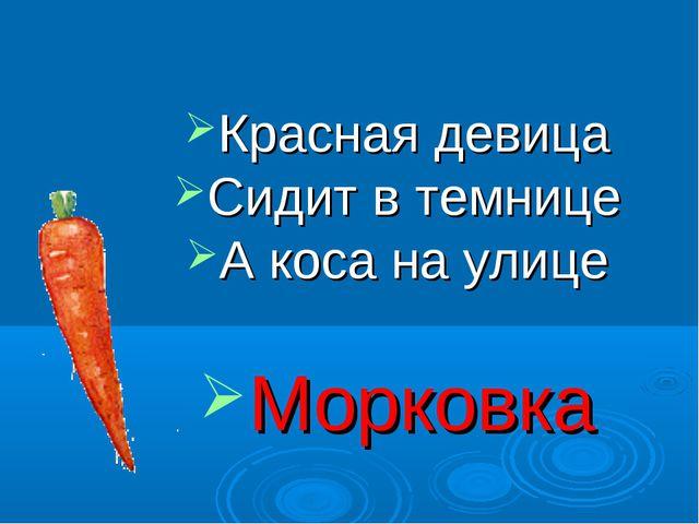 Красная девица Сидит в темнице А коса на улице Морковка
