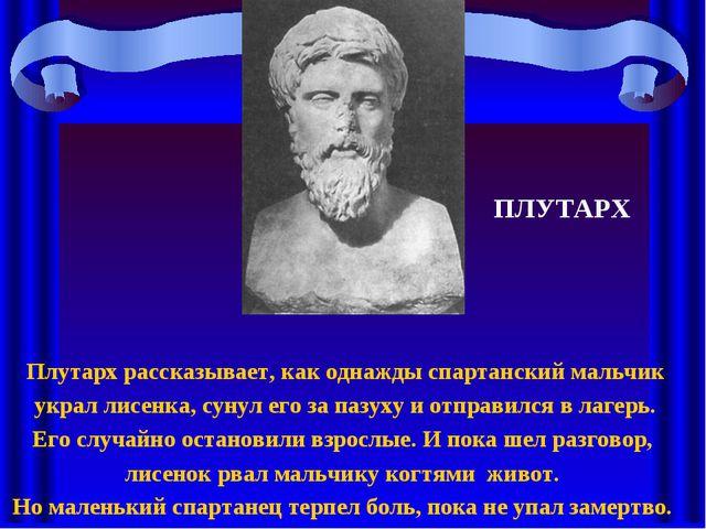 Плутарх рассказывает, как однажды спартанский мальчик украл лисенка, сунул ег...
