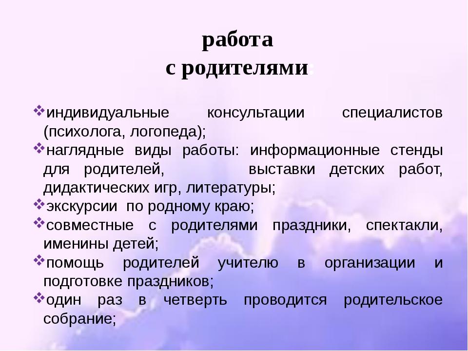 индивидуальные консультации специалистов (психолога, логопеда); наглядные вид...