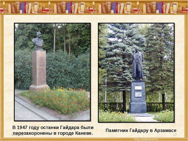 * * В 1947 году останки Гайдара были перезахоронены в городе Каневе. Памятник...